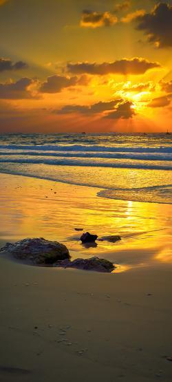 Duschrückwand aus Glas, Motiv Sonnenuntergang