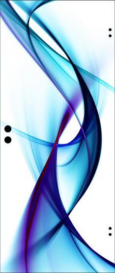 Ganzglastür ESG Weißglas 8mm, Motiv blaue Welle