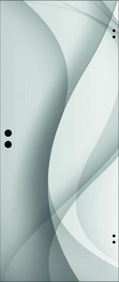 Ganzglastür ESG Weißglas 8mm, Motiv graue Welle
