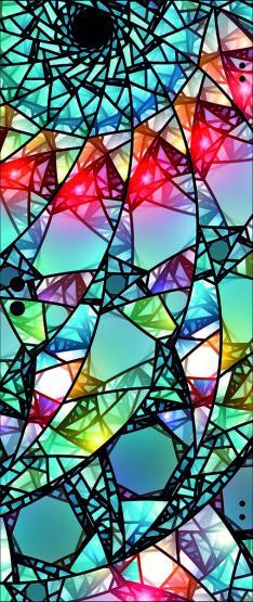 Ganzglastür ESG Weißglas 8mm, Motiv Spirale 2
